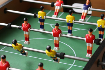 Table Football Game Close Up View, Kicker Player Figures