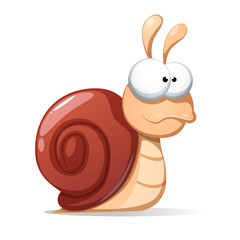 Funny, cute snail illustration. Shadowand reflect Vector eps10