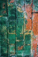 Green and Red Distressed Wall