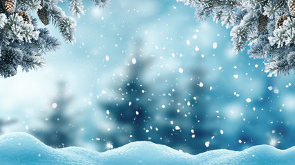 Wall Mural - Merry christmas and happy new year greeting background .Winter landscape with snow and christmas trees