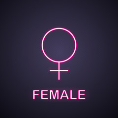 Female gender symbol neon light icon