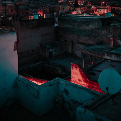 Dark alley from above in Morocco