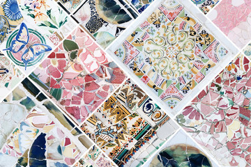 Beautiful collage of different traditional portuguese floral tiles called azulejos