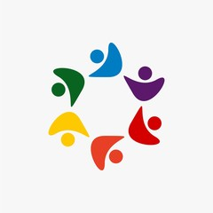 team work logo design icon