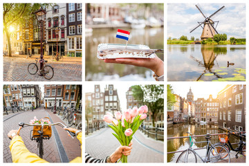 Collage with different symbols of Netherlands, tulips, herring, windmill, bicycles and water channels
