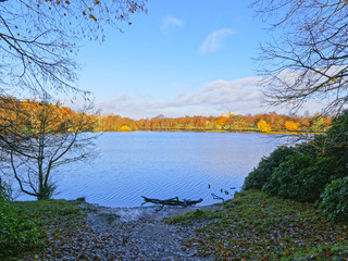 A muddy bank leads to the edge of a lake, trees around the lake are in autumnal colours
