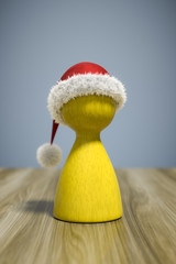 a red christmas hat on a yellow game figure