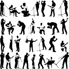 musicians collection silhouettes(guitarists,singers) - vector