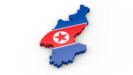 3D Karte oder Umriss von Nordkorea