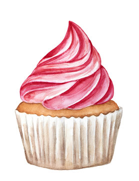 Cupcake dessert decorated with pink colored butter cream. White wrapper baking cup. One single object, side view. Beautiful compliment. Hand drawn watercolour illustration, isolated, white background.