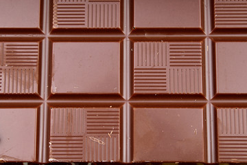 Chocolate bar and bars as background. Milk and dark shiny chocolate texture. Stack chocolates pattern. Stunning beautiful cacao brown dessert sweets.