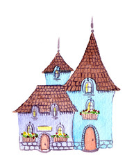 Fantasy house. Water colour drawing