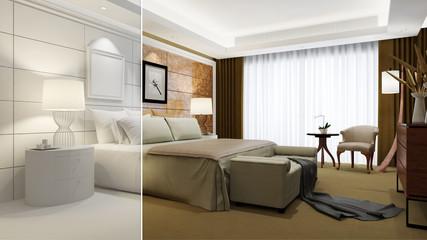 Hotelzimmer teils in weiß und 3D