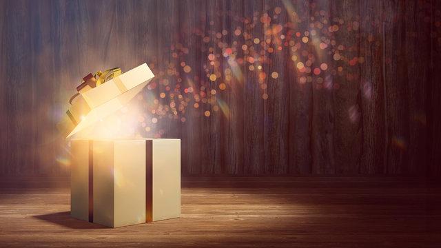 Geschenk leuchtet als Überraschung zu Weihnachten