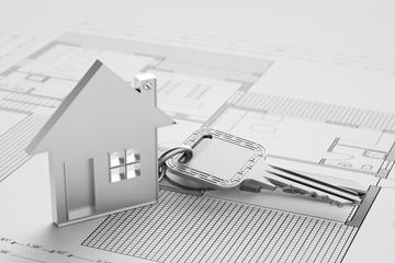Haus mit Schlüssel auf Grundriss