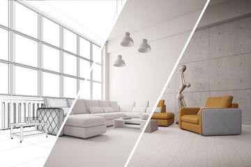 Phasen bei CAD Planung von Wohnzimmer