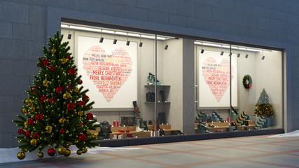 Schaufenster zu Weihnachten vom Einzelhandel