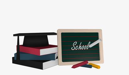 Schiefertafel mit dem Text School und einem Bücherstapel auf dem ein Highshool-Hut liegt.