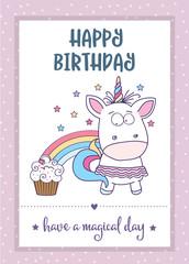 happy birthday card  with lovely baby girl unicorn