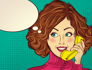 beautiful red-haired lady, speaks to a retro phone