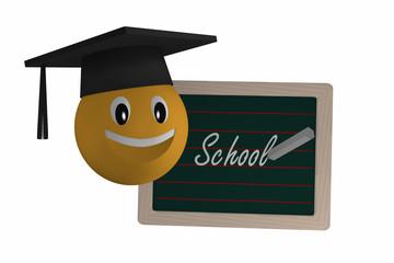 Schiefertafel mit dem Text Schule in deutsch und einem Emoticon mit Highshool-Hut