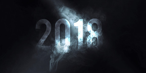 2018 new year smoke effect writing