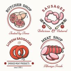 Sausages logo set. Meat products labels for butcher shop vector illustration
