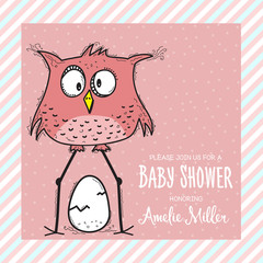 baby shower card template with funny doodle bird