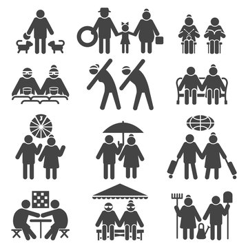 Old people active lifestyle. Elderly couple leisure, retired sports and tourism, grandchildren and health signs, vector icons set