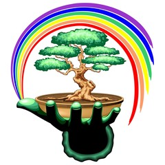 Bonsai Tree and Rainbow on Green Hand
