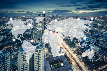 connection and network system concept over cityscape