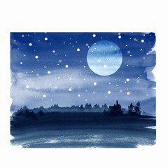 Winter watercolor landscape with moon and snow 1