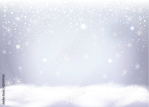 Christmas snowy landscape with beautiful snow mountain, snowflakes ...