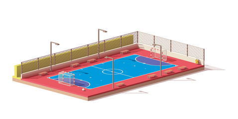 Vector low poly futsal court