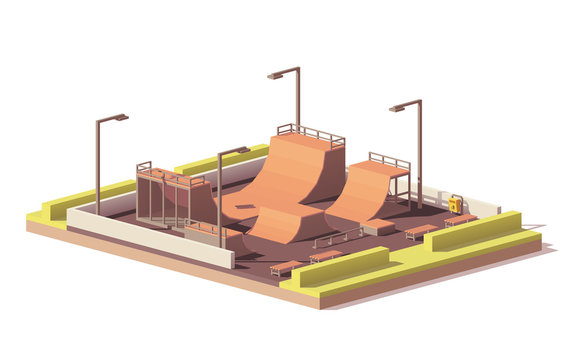 Vector low poly skate park