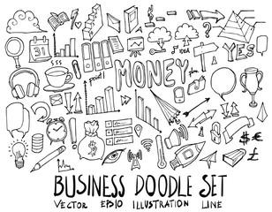 Set of Business illustration Hand drawn doodle Sketch line vector eps10