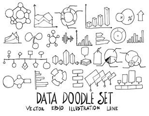 Set of Data illustration Hand drawn doodle Sketch line vector eps10