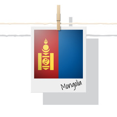 Asian country flag collection with photo of Mongolia flag on white background , vector , illustration