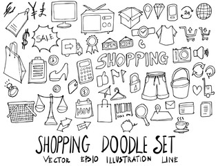 Set of Shopping illustration Hand drawn doodle Sketch line vector eps10