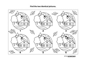 IQ training find the two identical pictures with rural houses visual puzzle and coloring page. Answer included.