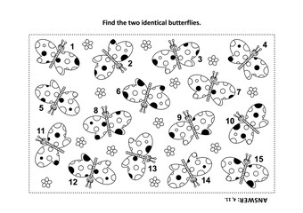 IQ training find the two identical butterflies visual puzzle and coloring page. Answer included.