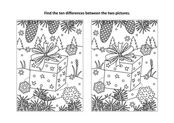 Winter holidays themed find the ten differences picture puzzle and coloring page with gift or present