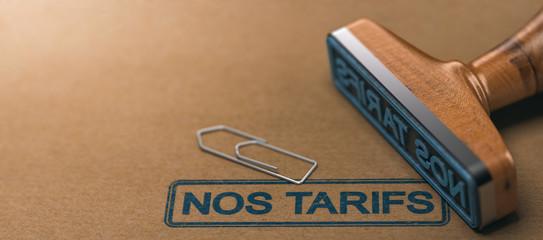 Nos Tarifs, Barème Tarifaire