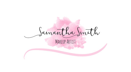 Abstract watercolor business cards. Pink hand drawn stain and makeup artist template conceptual beauty vector illustration.