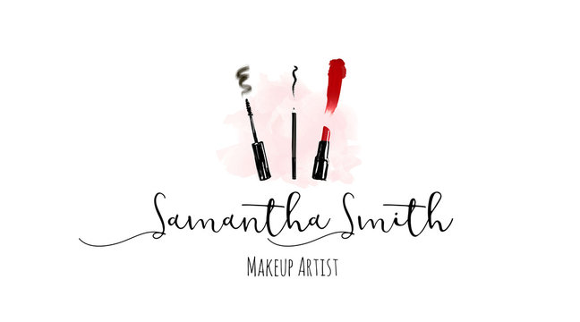 Makeup artist business card. Vector template with make up items - makeup brush, pencil, eyeliner, red lipstick and mascara brush with trace and smear. Fashion and beauty logo concept business cards.
