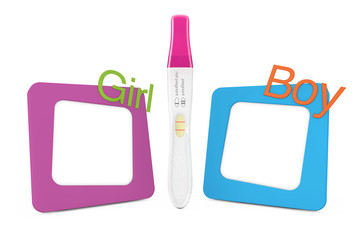 Positive Plastic Pregnancy Test between Photo Frames with Girl and Boy Signs. 3d Rendering