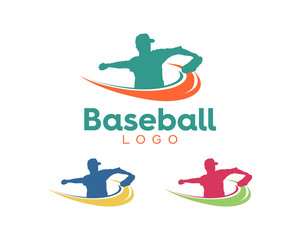 Simple modern baseball player logo