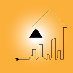 Creative wire of light bulb with buildings and landmarks, idea and inspiration concept. City with light bulb. Vector Illustration.