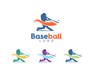 cool swing hit ball baseball player logo