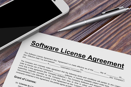 Software License Agreement with Mobile Phone and Pen. 3d Rendering